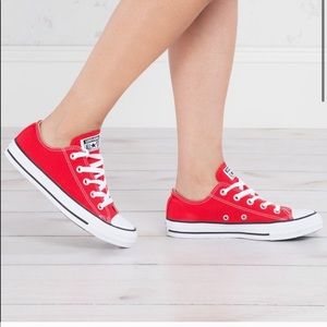 CONVERSE Red Sneakers Shoes Size 7